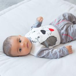 Baby boy set - 3 pieces - grey
