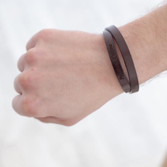 """Brown Leather Bracelet for men """"Dad we love you"""""""