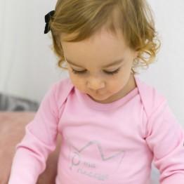 Body rosa a maniche lunghe per bimba- La mia principessa (set da 3)