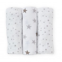 Lot de 3 langes 70x70 cm en mousseline de coton