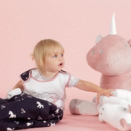 Gigoteuse pour fille rose et bleue - Ophélia la licorne