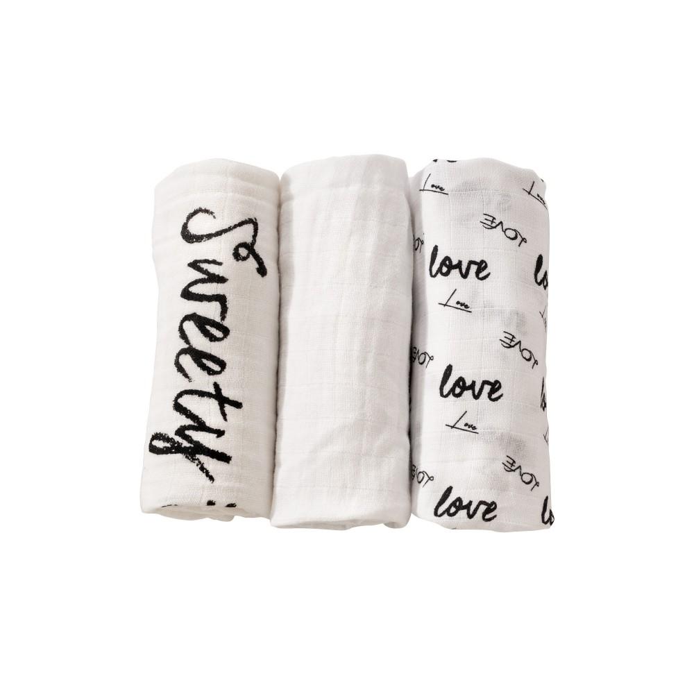 Lot de 3 langes 70x70 cm - Love