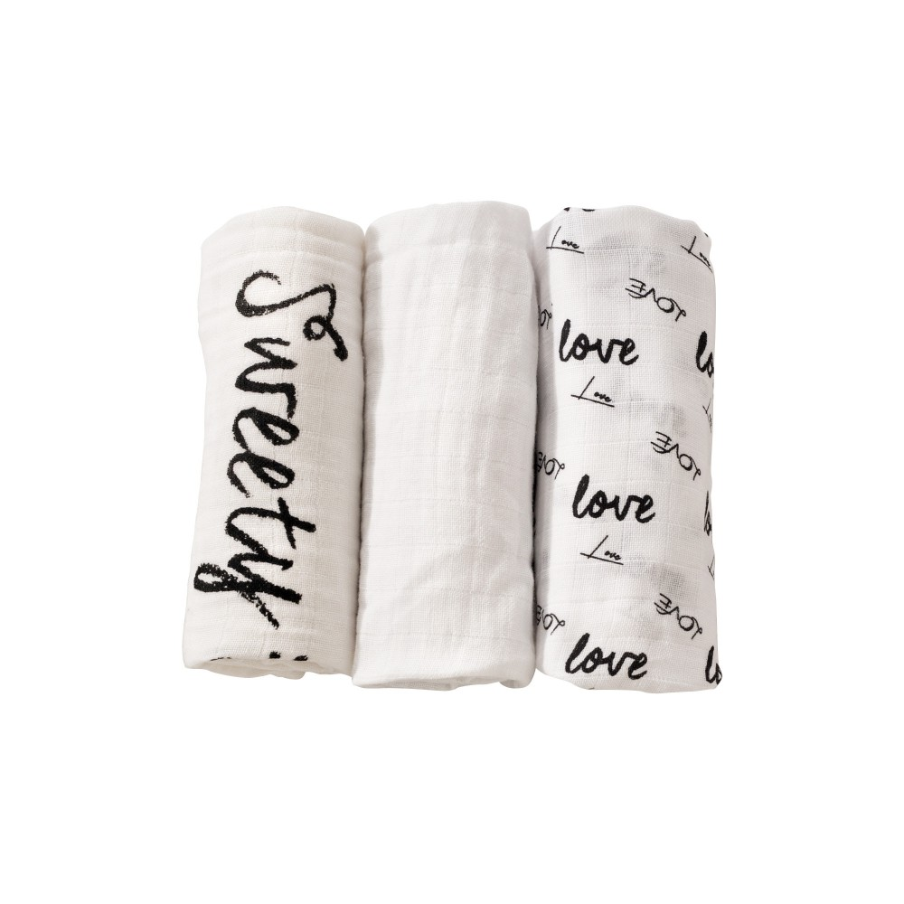 Lot de 3 langes 70x70 cm - Love