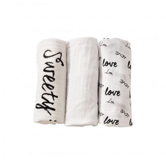 Set of 3 nappies 70x70 cm - Love
