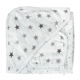 Baby bath cape and cotton square - Dream of stars