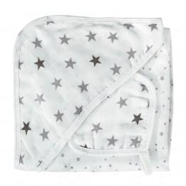 Cape de bain bébé et carré de coton - Rêve d'étoiles