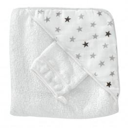 Maxi baby bathrobe + face flannel - Dream of stars