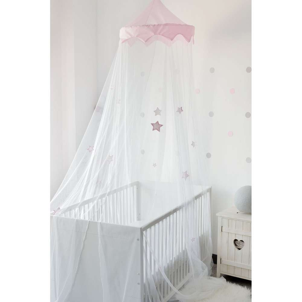 - White / Pink Baby Cot Canopy With Stars, Two In One Mosquito Net