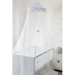 Grey/white bed canopy/mosquito net for crib, cot or child's bed