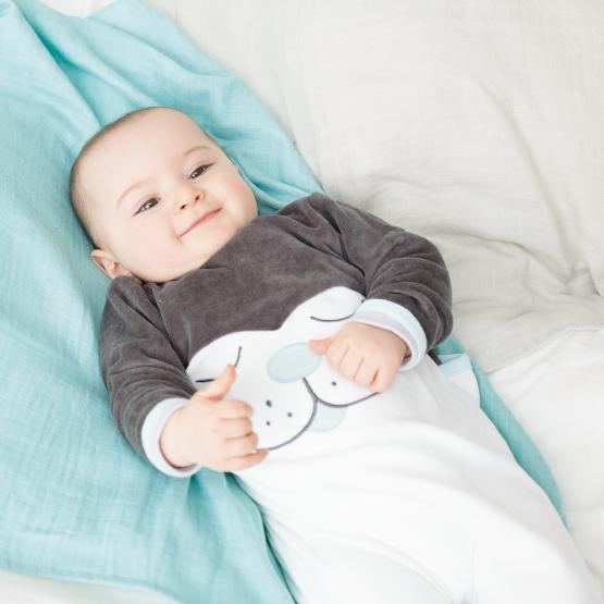 Pyjama bébé - MON CHATON gris/vert d'eau