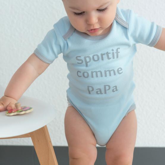 """Body bébé manche courte - """"Sportif comme Papa"""""""