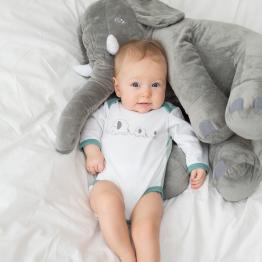Body per maschietti stampato elefanti blu (confezione da 2)