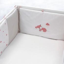Tour de lit fille - Renarde rose/blanc