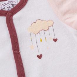 Pyjama naissance fille en velours - Nuage d'amour