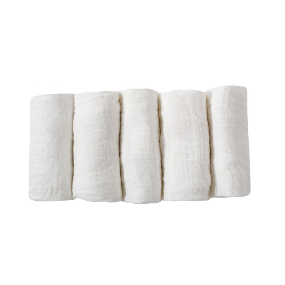 Lot de langes bébé pur coton - x5 blanc