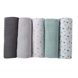 Set of 5 pure cotton baby nappies – green watercolor