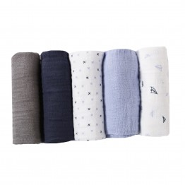 Set of 5 pure cotton nappies - blue