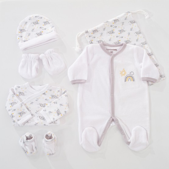 Birth kit girl – White/grey rainbow (6 pieces)