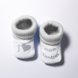 "Pair of baby boy booties ""I love my uncle"""