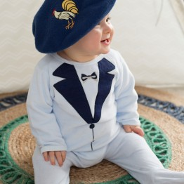Baby boy blue velvet pyjamas - Suit