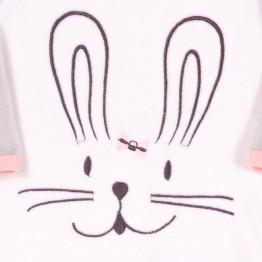 Pigama in velluto bimba bianco e rosa – coniglietto