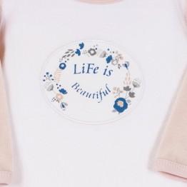 Pyjama velours bébé fille blanc et rose - Liberty