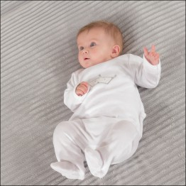 Baby velvet pyjamas with back opening - Crown