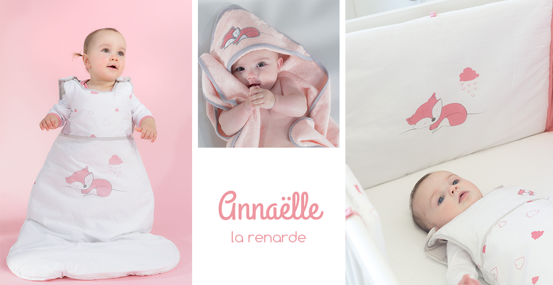 linge de lit bébé fille - renard rose et blanc