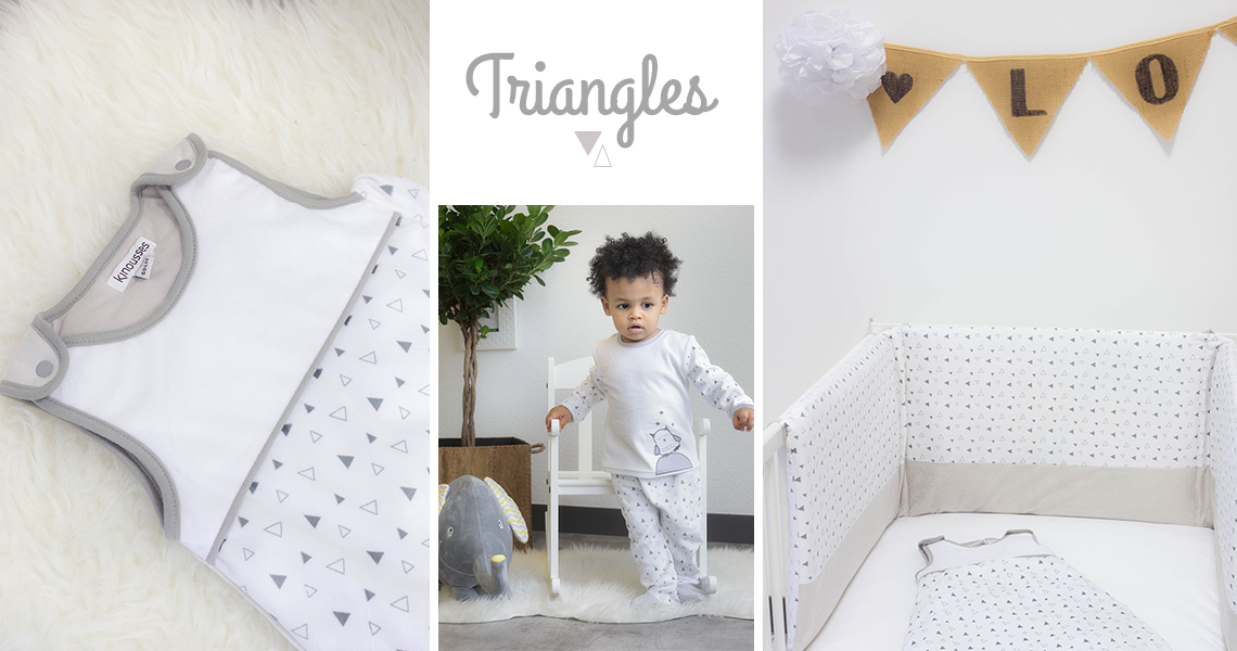 collection linge de lit bébé triangles gris - Kinousses